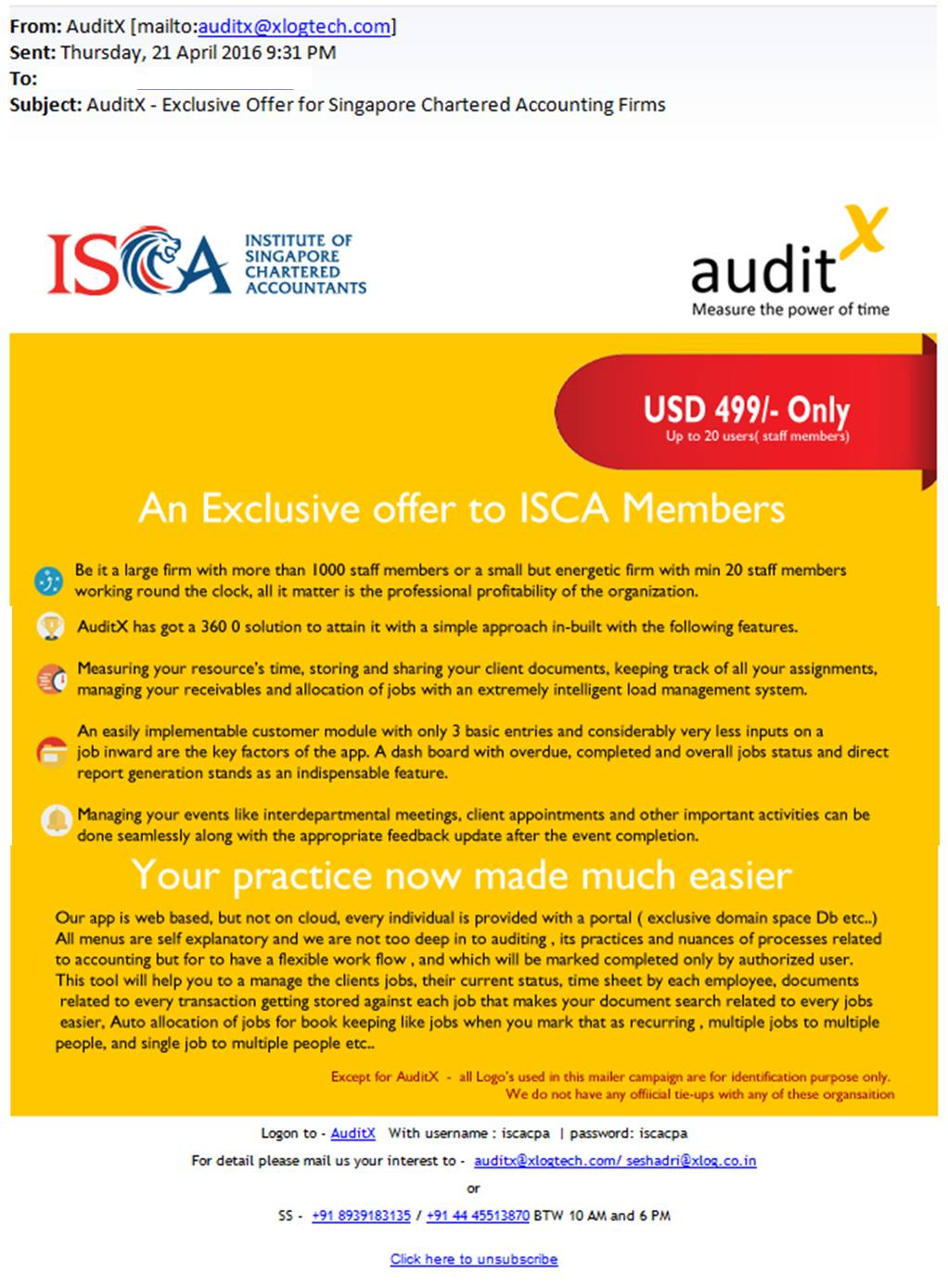 Unauthorised Use of ISCA Logo